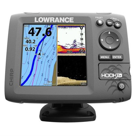 Lowrance Hook-5 Mid/High/Downscan Fishfinder HOOK-5 Combo w/83/200/455/800 HDI Transom Mount Transducer