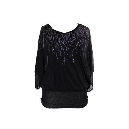 Mesh Kimono - Alfani  Black Dolman-Sleeve Mesh Studded Kimono Top S