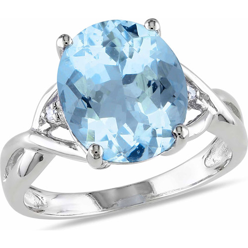5-1/2 Carat T.G.W. Oval-Cut Blue Topaz and Diamond-Accent Sterling Silver Cocktail Ring
