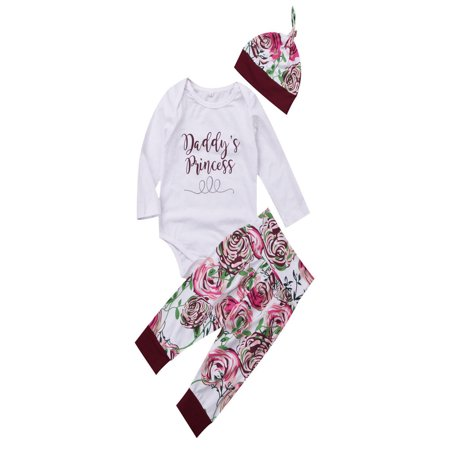 Newborn Baby Girls Tops Romper Flower Pants Leggings Hat Outfits Set Clothes 0-18M ()
