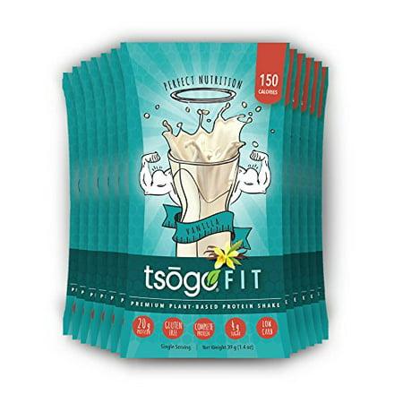 Tsogo Fit 12 Pack, lisse à la vanille, de soja, sans gluten et sans produits laitiers, riche en fibres et protéines, Faible teneur en calories et glucides, substitut de repas Shake, seulement 150cal / SERV. (1-Box 12 Portions individuelle)