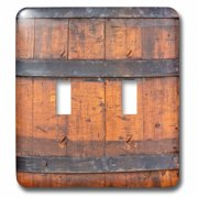 3dRose Image of an old wooden barrel with three metal bands. Rustic backdrop - Double Toggle Switch (lsp_306141_2)
