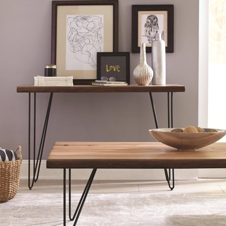 Benzara Solid Wooden Contemporary Sofa Table With V-Shaped Metal Base, Honey Brown
