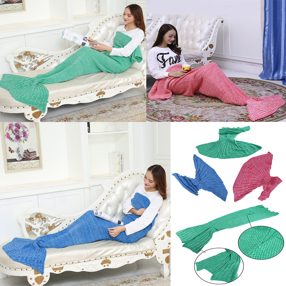 OUTAD Green Super Soft Fluffy Hand Crocheted Mermaid Tail Blanket Sleeping Bag ~ New