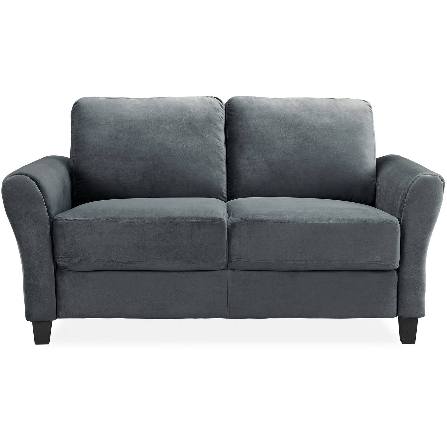LifeStyle Solutions Alexa Rolled-Arm Loveseat, Upholstered fabric in Dark Grey