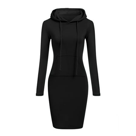 Womens Winter Drawstring Long Sleeve Slim Hoodie - Hood Dress