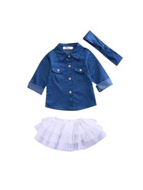 7dce21339 Product Image 3pcs Sets Toddler Kids Baby Girls Clothes Denim Tops  T-shirt+Tutu Skirts+. Honganda
