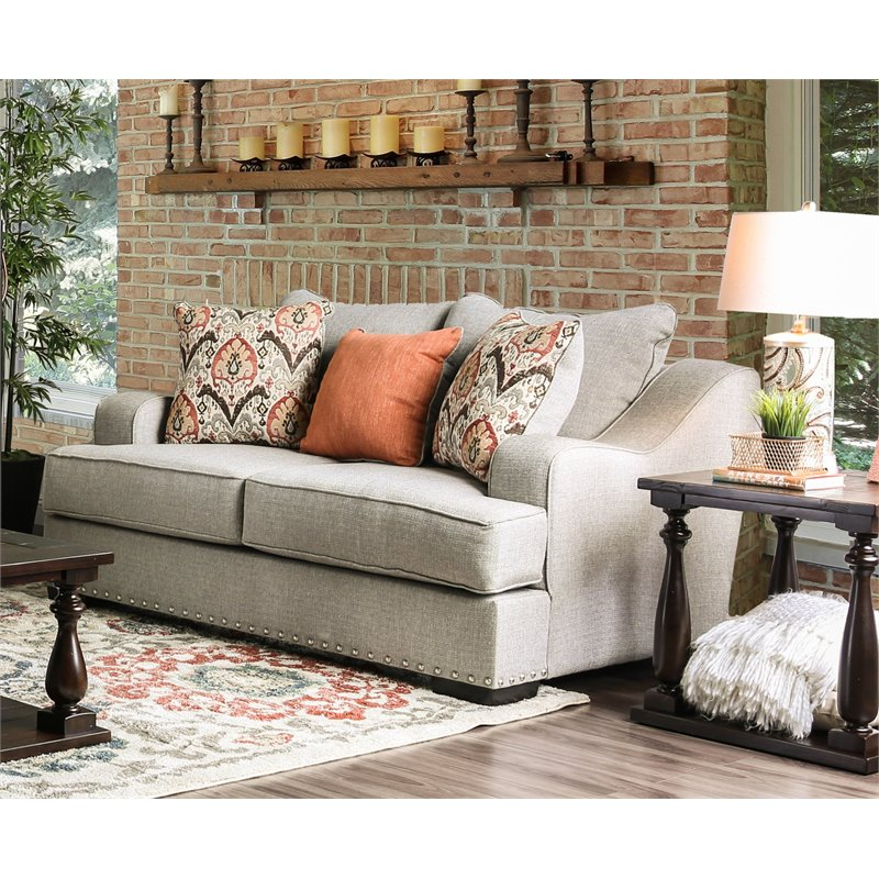 Furniture of America Debby Contemporary Loveseat in Light Gray