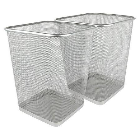 Greenco Mesh Wastebasket Trash Can, Square, 6 Gallon, Silver, 2 Pack ()