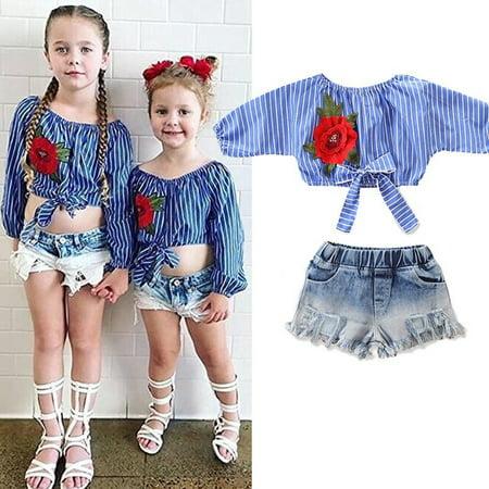Hot Toddler Kids Baby Girl Summer Tops T-shirt Denim Shorts 2Pcs Outfits Clothes