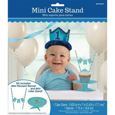 1st Birthday Boy 'Blue and Gold' Mini Cake Stand w/ Banner - Banner Stands 4 Less