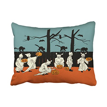 WinHome Vintage Early 1900s Halloween Spooks On Parade Throw Pillow Covers Cushion Cover Case 20X30 Inches Pillowcases Two Side - Halloween Parade Miami Beach