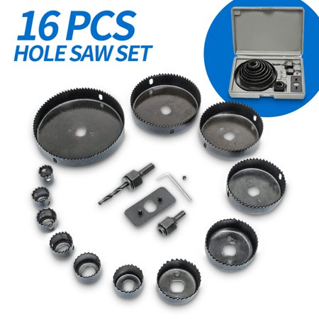 16pc/Set 3/4/5'' Hole Saw Drill Cutter Kit Bit 19-127mm Steel Cutting Circle Tools Core Shaft For Plastic