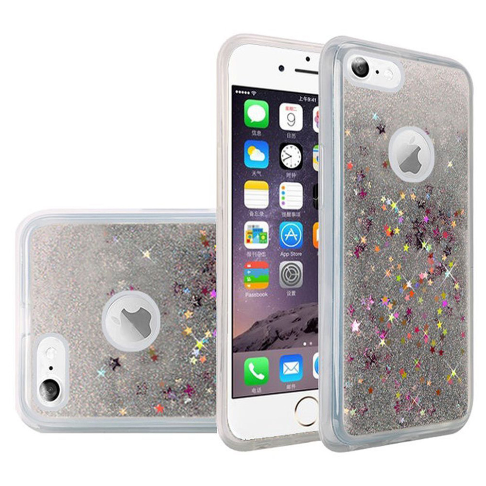iPhone 6/6s Case Charging Cable Tempered Glass Combo Kit, Premium Luxury Glitter Sparkle Bling Hybrid Quicksand Designer Case with 3ft. USB Lightining Cable and Screen Guard for iPhone 6/6s, Silver