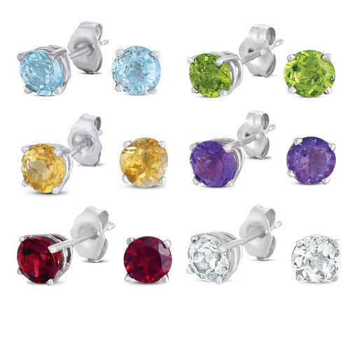 JewelExcess Round Cut Genuine Gemstone 6-Pair Stud Earring Set