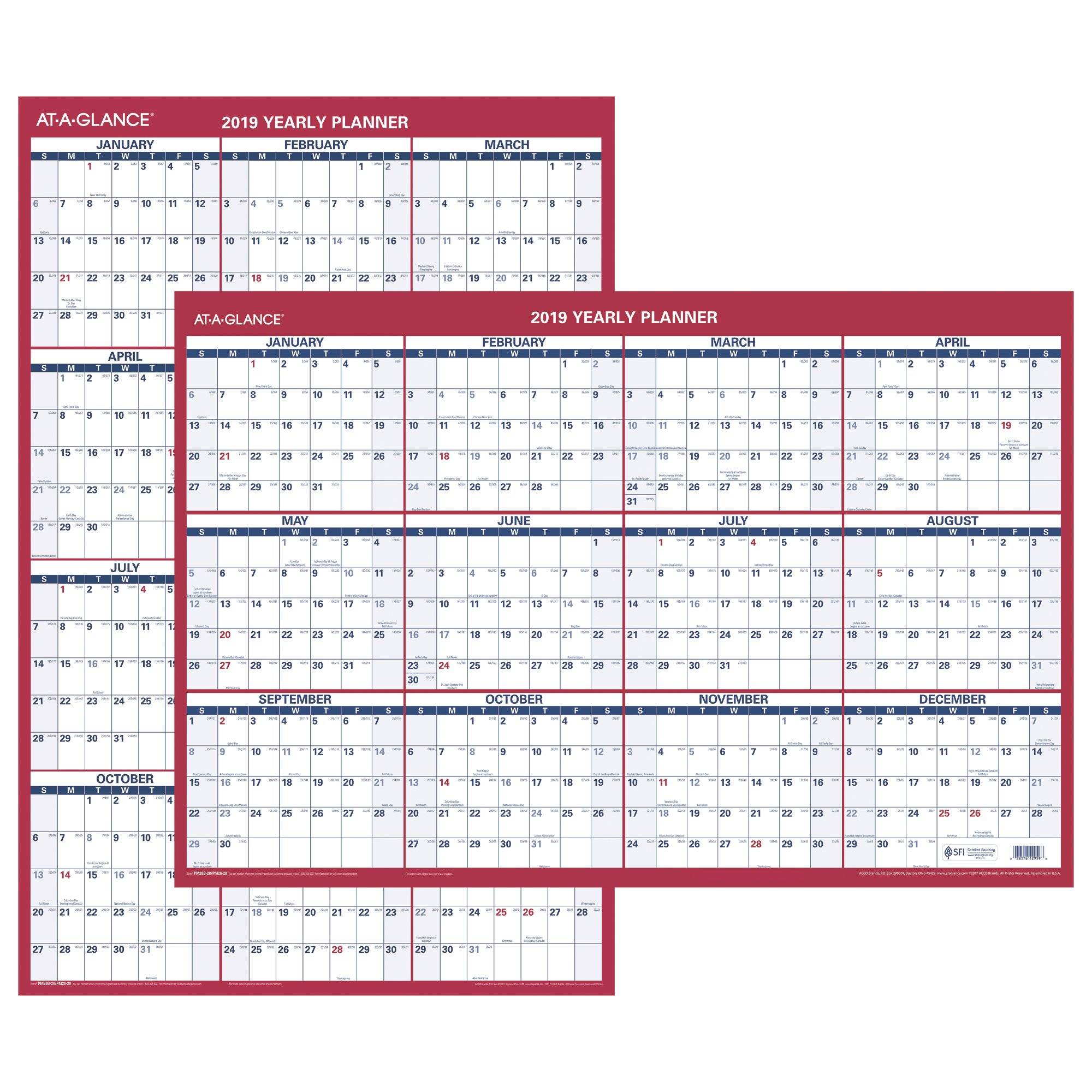 At-A-Glance 2-Sided Erasable Wall Calendar - Yearly Wall Calendars