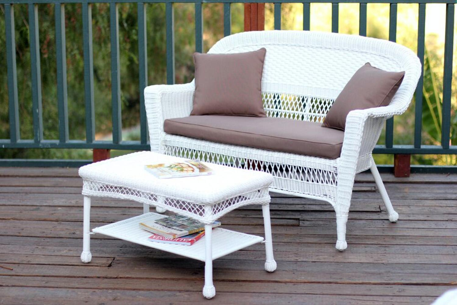 Superior 2 Piece Aurora White Resin Wicker Patio Loveseat And Coffee Table Furniture  Set   Brown
