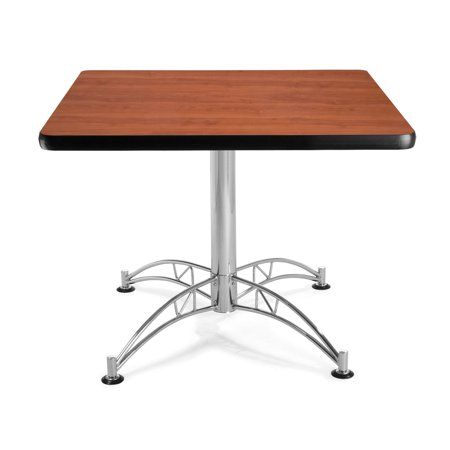 "OFM Model LT36SQ 36"" Multi-Purpose Square Table with Chrome-Plated Steel Base, Cherry"