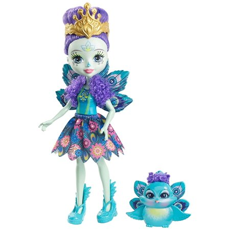 Patter Peacock DollHer blue shoes are feather-inspired, a golden tiara sits atop her rooted purple updo, facial features are animal-inspired.., By Enchantimals