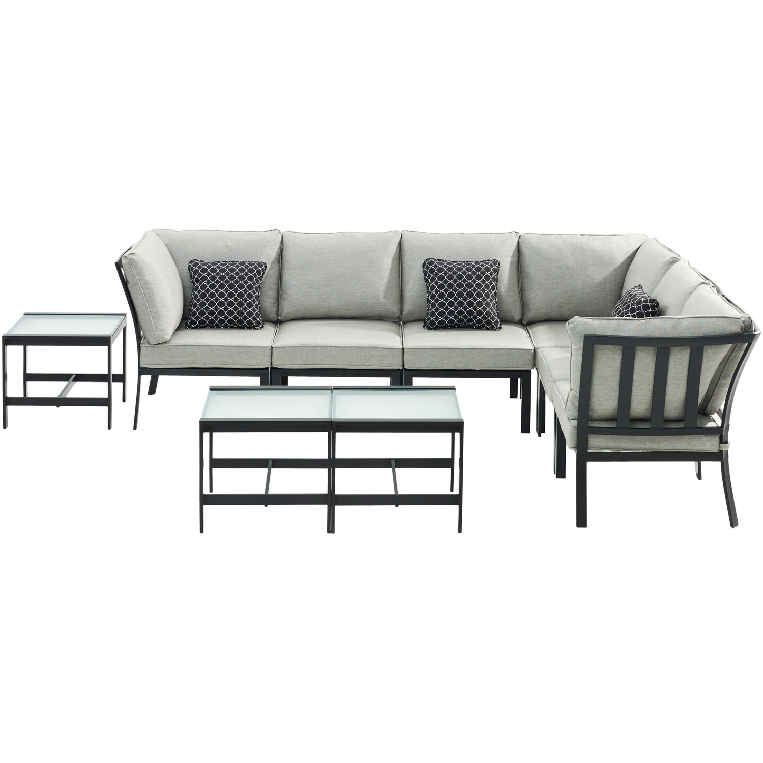 Hanover Murano 9-Piece Modular Sectional Set - Silver Linings