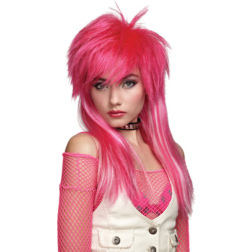 Hot Pink with White Glam Wig Adult Halloween Accessory