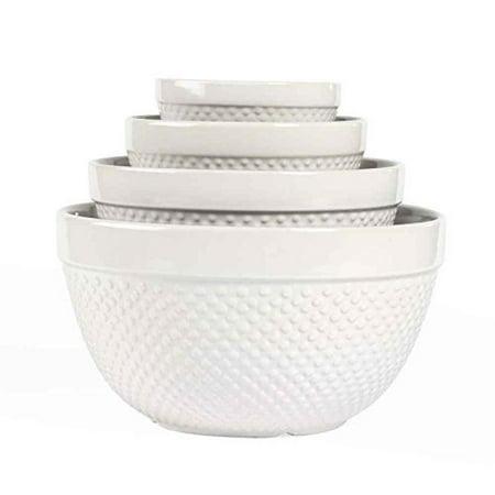 Gallery White Ceramic 4 Piece Mixing Bowls (Oxbow Ceramic Bowl)