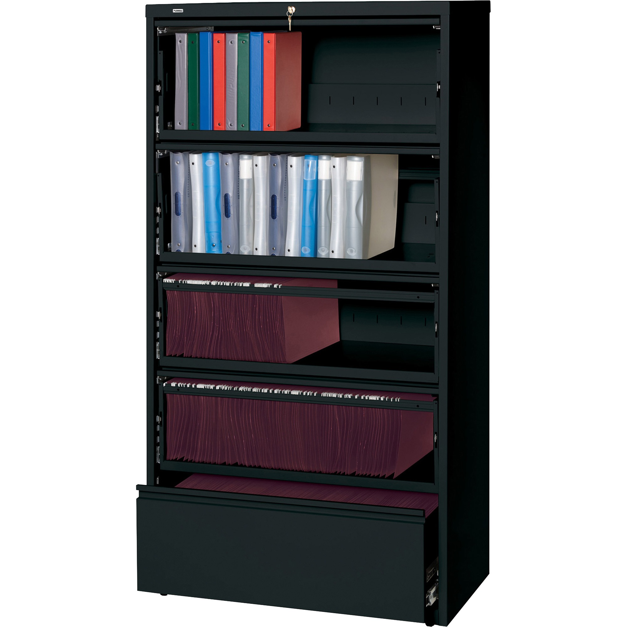 Lorell, LLR43513, Receding Lateral File with Roll Out Shelves, 1 Each, Black