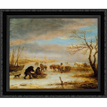 Frozen Ice Landscape with Carriages and Boats 20x20 Black Ornate Wood Framed Canvas Art by Ostade, Isaac van - Love Boat Isaac