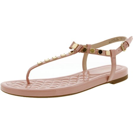 Cole Haan Women's Tali Mini Studded Coral Almond Ankle-High Patent Leather Sandal - 7M Studded Leather Mini
