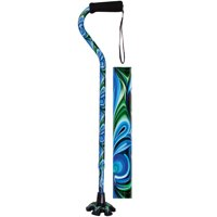 Essential Medical Supply Couture Offset Fashion Cane with Matching Standing Super Big Foot Tip in Swirl Style