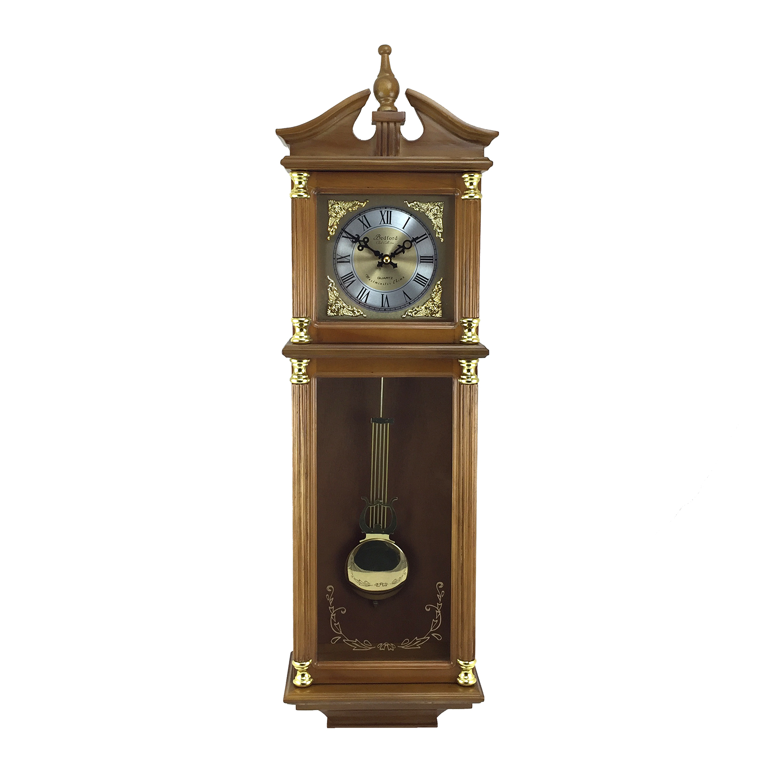 "Bedford Clock Collection 34.5"" Antique Chiming Wall Clock with Roman Numerals in a... by Bedford Clock Collection"