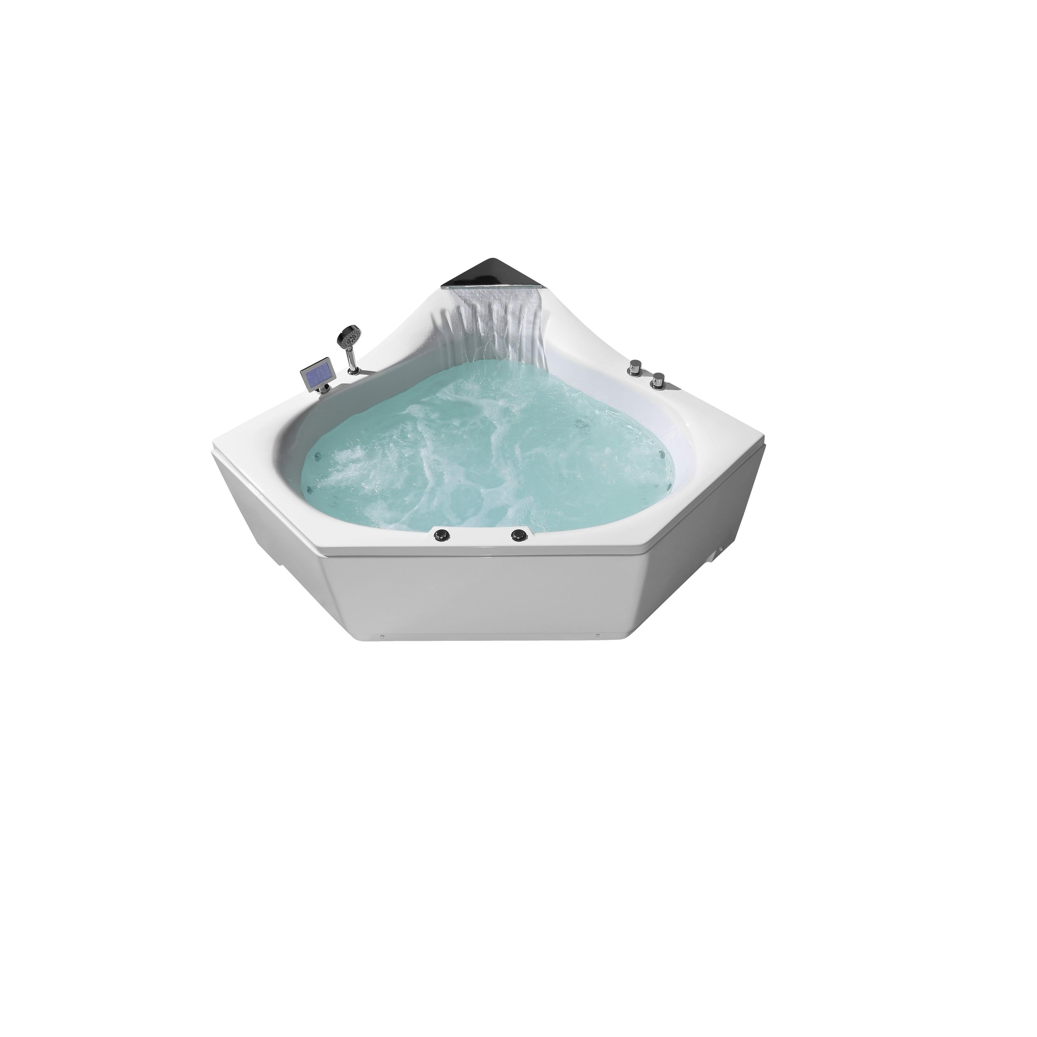 ARIEL 59″ Acrylic Center Drain Corner Alcove Whirlpool Bathtub