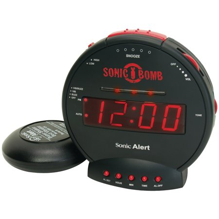 SBB500SS Sonic Bomb Alarm Clock with Super Shaker (Black Old Fashion Alarm Clock)