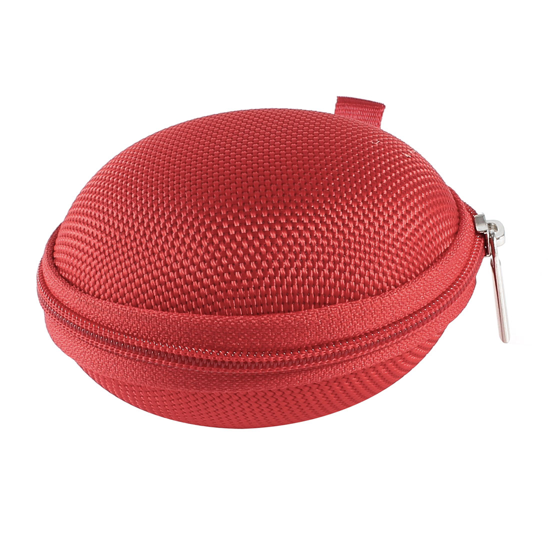 Unique Bargains Red Zipper Flannel Lining Plastic Headset Earphone Headphone Case Holder