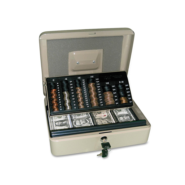 PM Company SecurIT 3-in-1 Cash-Change-Storage Steel Security Box w/Key Lock, Pebble Beige -PMC04967