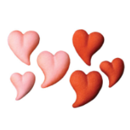 Set of 12 Red Pink Teardrop Heart (46 3/4inch - 1 1/4inch Edible Sugar Cake & Cupcake Decoration Toppers