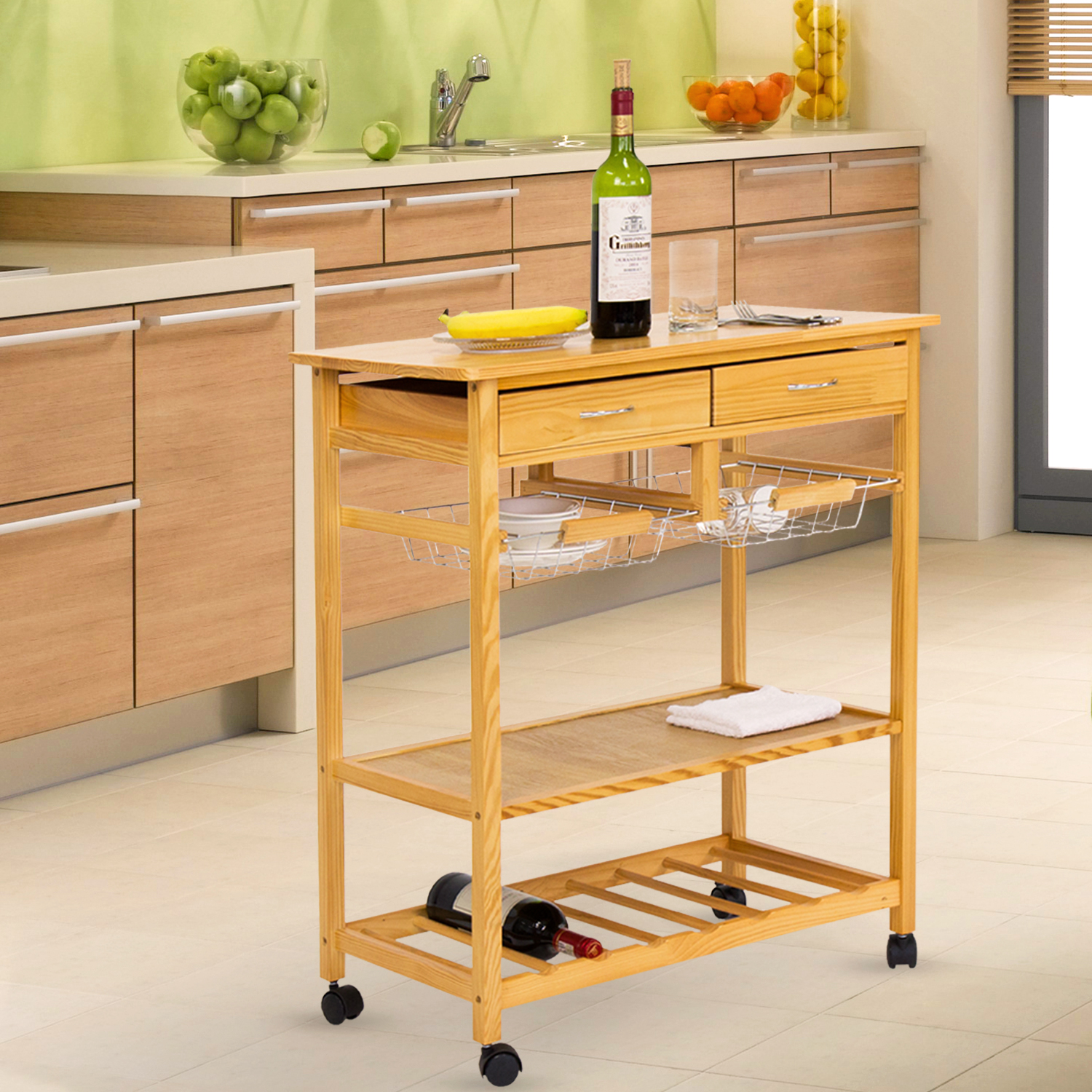 Kinbor Kitchen Cart on Wheels Wooden Trolley Work Island Storage with Drawers by