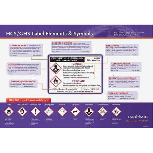 LABELMASTER GHISTRNPST1S Poster,GHS Label Training,28 x 20In,Span