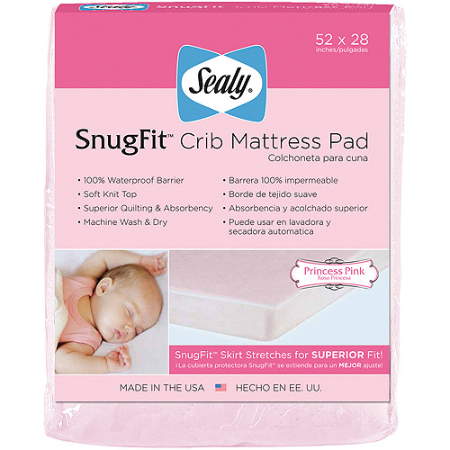 Sealy SnugFit Crib Mattress Pad, Pink Princess