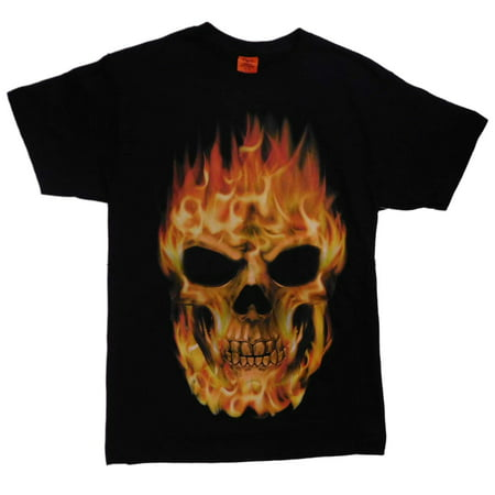 Mens Black Flaming Skull Halloween T-Shirt - Flaming Halloween Shots