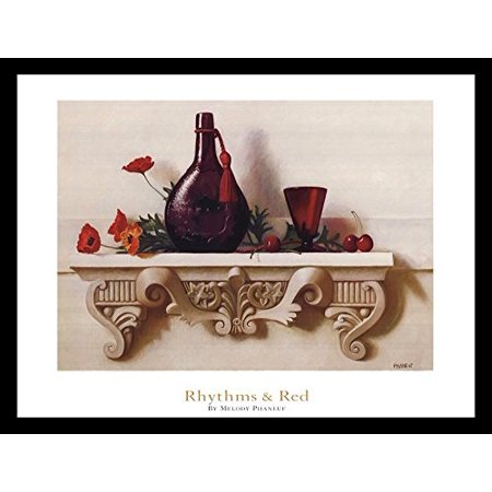 Framed Rhythms   Red 24X18 Art Print Poster Still Life Red Flowers And Cherries Decorative Red Vase And Cup