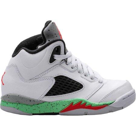 Nike Kids Jordan 5 Retro Bp Basketball Shoe Wht/Infrrd 23/Lt Psn Grn/Blck