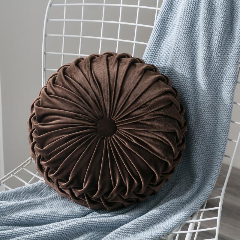 Pack 2:Round Floor Cushions Pillow Solid Color Velvet Meditation Cushion Pumpkin Pleated Meditation Pillow for Home Sofa Bed Car Decor Floor Pillow Cushion Gray
