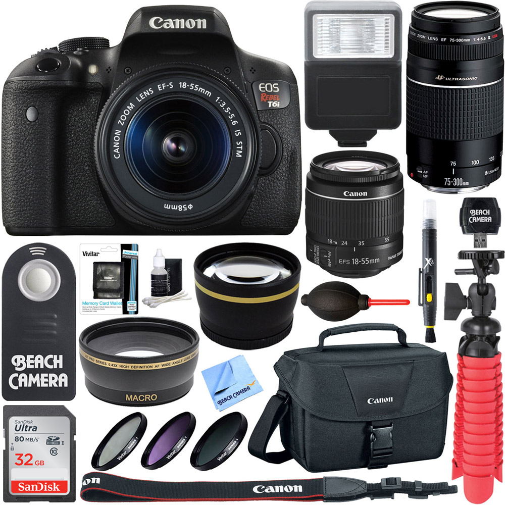 Canon T6i EOS Rebel DSLR Camera w/ EF-S 18-55mm & 75-300mm III Lens Kit + Accessory Bundle 32GB SDHC Memory + SLR Photo Bag + Wide Angle Lens + 2x Telephoto Lens + Flash + Remote + Tripod & More