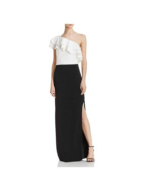 Laundry by Shelli Segal Womens One Shoulder Ruffled Evening Dress B/W 12