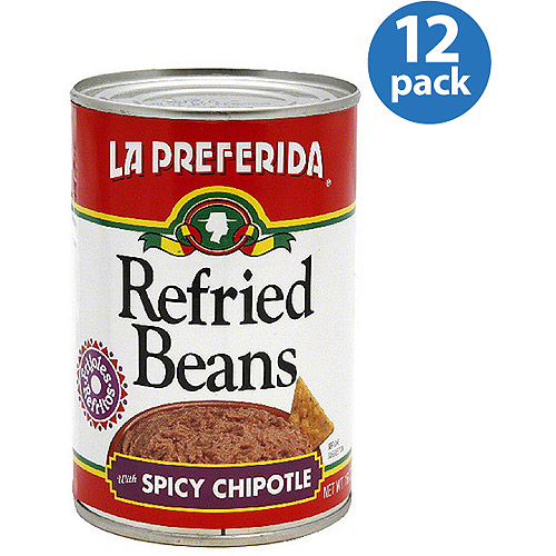 La Preferida Spicy Chipotle Refried Beans, 16 oz, (Pack of 12)
