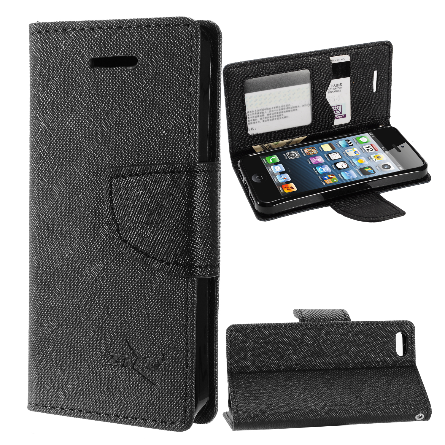 zizo wallet case for iphone se 5 5g 5s wallet pouch w tpu inside cover ids card holder kickstand