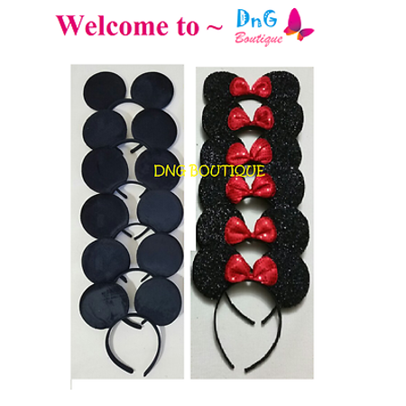 LWS LA Wholesale Store  15 PCS MICKEY BLACK a & Minnie Sequin MOUSE EAR HEADBANDS BOW PARTY FAVORS &  ** 1 Free miniature figures - Frozen Mickey Ears