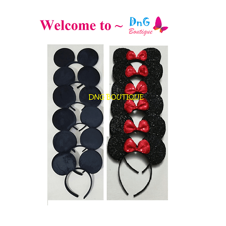 LWS LA Wholesale Store  15 PCS MICKEY BLACK a & Minnie Sequin MOUSE EAR HEADBANDS BOW PARTY FAVORS (Wholesale Kids Accessories)