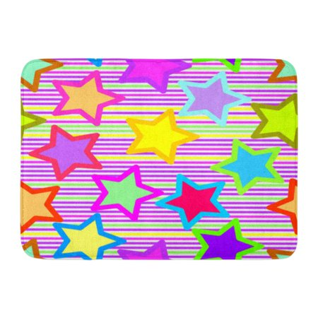 GODPOK Pink Color Brown Abstract Retro Vivid Star Orange Collection Red Colored Rug Doormat Bath Mat 23.6x15.7 inch - Orange Star
